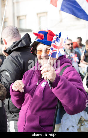 London, UK. 10th November 2018. Small but loud protest Brexit March. The British and UKIP flag waving Brexiteers assembling on Trafalgar Square and marching down Whitehall, back to the Mall, then Piccadilly Circus and returning to Trafalgar Square.  Credit: Joe Kuis / Alamy Live News - Stock Photo