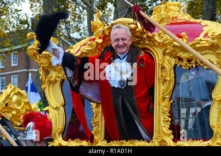 London, UK, 10 November 2018 Alderman Peter Estlin who is the 691st Lord Mayor of London. Lord Mayor's show 2018 parade. - Stock Photo