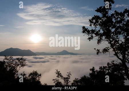 Morning mountain landscape with waves of fog. Dreamy sunrise on with the view into misty valley. Beautiful day in nature. - Stock Photo