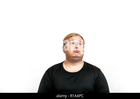 Big fat stout blonde man looking at camera with upset, disappointed expression, emotion. Isolated on white background. - Stock Photo