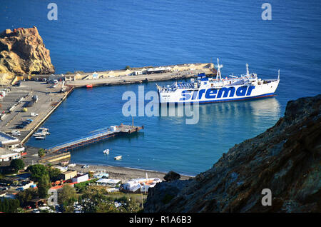 Aeolian Islands, Sicily, Italy. Island of Vulcano. View of the port  'Porto di Levante' of the island from the crater 'Gran Cratere'. - Stock Photo