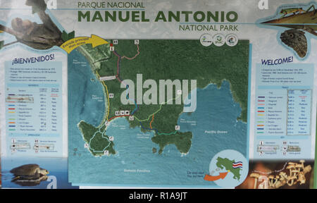 Manuel Antonio National Park Map Sign - Stock Photo