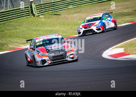 Vallelunga, Rome, Italy september 16 2018, Aci racing weekend. Front view full length of Audi RS3 touring car in action at turn during the race - Stock Photo