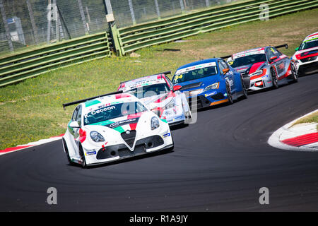 Vallelunga, Rome, Italy september 16 2018, Aci racing weekend. Front view full length of Alfa Romeo Giulietta touring car in action at turn during the - Stock Photo