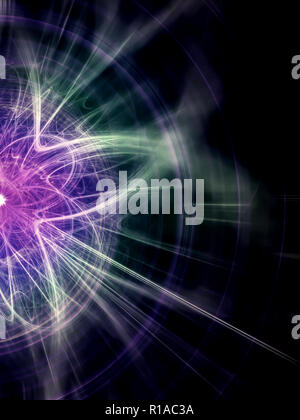 High Energy Particles Collision - Abstract Illustration - Stock Photo