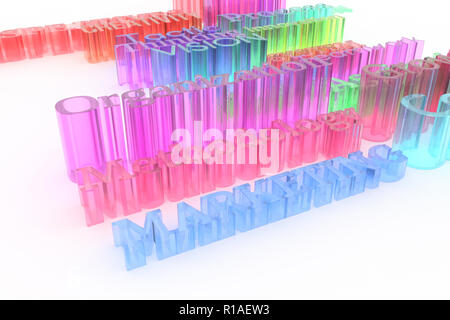 Colorful transparent plastic or glass 3D rendering. Background abstract, business related keywords CGI typography.  Methodology, creativity, marketing - Stock Photo