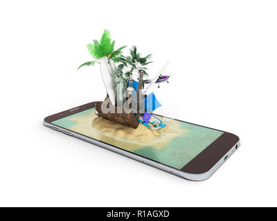 3D render of tropical island resort with blue sea ocean water sand beach and palm trees on smartphone screen Travel tourism and holidays and vacations - Stock Photo
