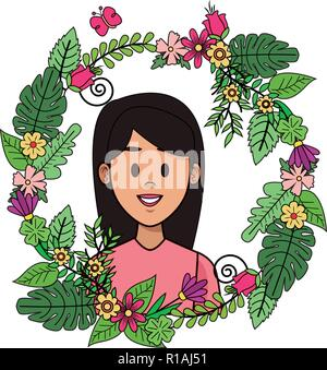 Woman profile cartoon on leaves and wreath flowers ornament vector illustration graphic design - Stock Photo