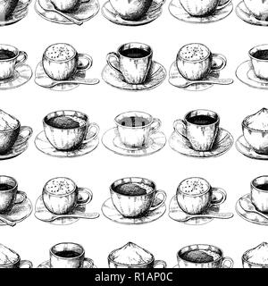 Sketch different mug of coffee on a saucer. Seamless pattern.  illustration of a sketch style. - Stock Photo