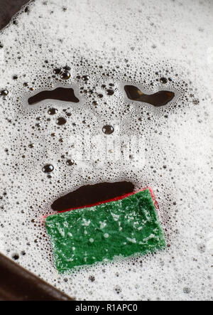 Image of facial expression found in washing up sink bowl.  A psychologoical  phenomenon called  Pareidolia. - Stock Photo