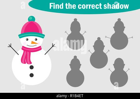 Find the correct shadow, game for children, snowman in cartoon style, education game for kids, preschool worksheet activity, task for the development of logical thinking, vector illustration - Stock Photo
