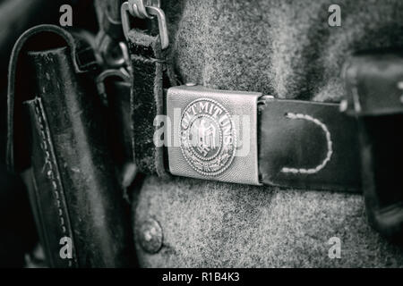 Close-up belt buckle from the time of the Second World War. Part of the outfit of the German soldier. - Stock Photo