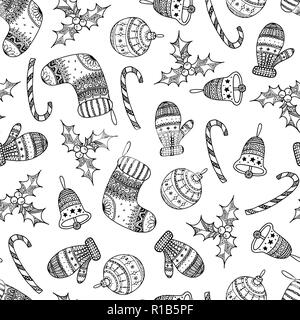 Vector seamless pattern of black Christmas decorative symbol - candy cane, tree ball, mitten, sock, holly, christmas bell on white background.  Christ - Stock Photo