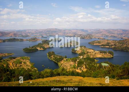landscape of Lake Bunyonyi, Uganda, Africa - Stock Photo