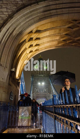 London, UK. 10th Nov, 2018. A  rainy night in London on Tower Bridge. Credit: Paul Robinson/Alamy Live News - Stock Photo