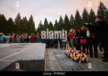 Paris, France. 10th Nov, 2018. People attend a ceremony to commemorate the 100th anniversary of the end of World War I, near the town of Compiegne, France, Nov. 10, 2018. French President Emmanuel Macron and German Chancellor Angela Merkel clasped hands on Saturday during a solemn joint ceremony at a historic site, in a vow of peace and unity. Credit: Zheng Huansong/Xinhua/Alamy Live News - Stock Photo