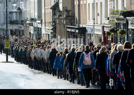 Leamington Spa, Warwickshire, UK. 11th Nov, 2018. UK. The Remembrance Day parade proceeds through Leamington Spa town centre towards the war memorial in Euston Place where a service was held. Credit: Colin Underhill/Alamy Live News - Stock Photo