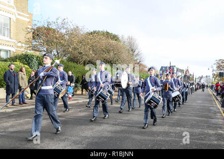 Southend on Sea, UK. 11th Nov, 2018. The Parade starts at Prittlewell Square and proceeds to Southend Cenotaph for a Service of Remembrance at 11am. Penelope Barritt/Alamy Live News - Stock Photo