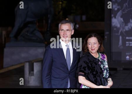 Paris, France. 10th Nov, 2018. Arrival of North Atlantic Treaty Organization Secretary General Jens Stoltenberg and his wife Ingrid Schulerud for dinner in the presence of the heads of state, government and international organization leaders during the international commemoration of the centenary of the 1918 armistice at the Musée d'Orsay in Paris on November 10, 2018 in Paris, France. Credit: Bernard Menigault/Alamy Live News - Stock Photo