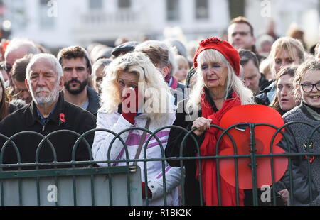 Brighton UK 11th November 2018 - Emotional moments at the Act of Remembrance Service held at Brighton war memorial . It is the 100 year anniversary today of the ending of World War One on the 11th November 1918 . Photograph taken by Simon Dack Credit: Simon Dack/Alamy Live News - Stock Photo