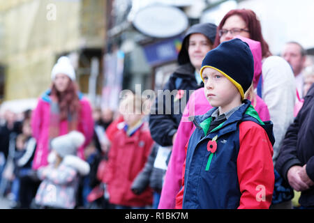 Hereford, Herefordshire, UK - Sunday 11th November 2018 - One young child among the public shows his respect at the War Memorial during the Remembrance Sunday service in Hereford city centre.  Steven May / Alamy Live News - Stock Photo