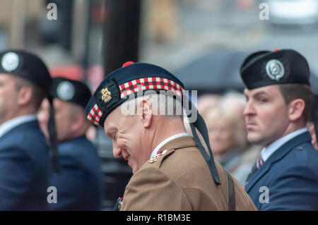 Glasgow, Scotland, UK. 11th November, 2018. A Remembrance Sunday service at the Cenotaph in George Square on the 100th anniversary of the signing of the Armistice which marked the end of the First World War. Credit: Skully/Alamy Live News - Stock Photo