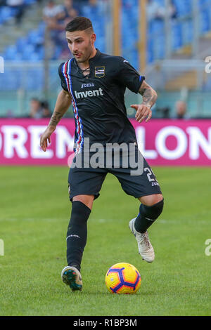11th November 2018, Stadio Olimpico, Rome, Italy; Serie A Football, Roma versus Sampdoria; Nicola Murru of Sampdoria controls the ball - Stock Photo