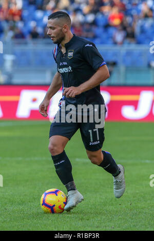 11th November 2018, Stadio Olimpico, Rome, Italy; Serie A Football, Roma versus Sampdoria; Gianluca Caprari of Sampdoria controls the ball along the line - Stock Photo
