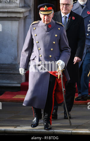 (181111) -- LONDON, Nov. 11, 2018 (Xinhua) -- Britain's Prince Charles, Prince of Wales, attends the annual remembrance ceremony marking the 100th anniversary of the end of the First World War in London, Britain on Nov. 11, 2018. Queen Elizabeth II was joined on Sunday morning by thousands of former and current soldiers, leading politicians and diplomats in marking the 100th anniversary of the end of the First World War at the annual Remembrance Day parade in central London. (Xinhua/Ray Tang)(dh) - Stock Photo