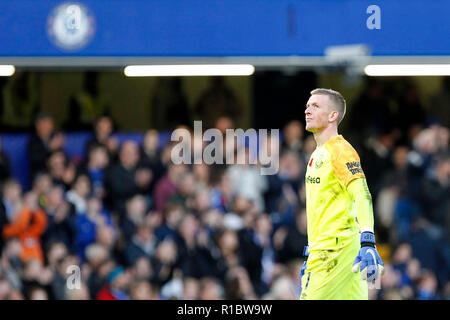 London, UK. 11th Nov 2018. Jordan Pickford of Everton during the Premier League match between Chelsea and Everton at Stamford Bridge, London, England on 11 November 2018. Photo by Carlton Myrie.  Editorial use only, license required for commercial use. No use in betting, games or a single club/league/player publications. Credit: UK Sports Pics Ltd/Alamy Live News - Stock Photo