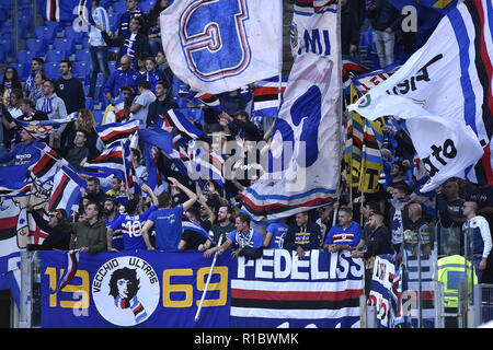 Rome, Italy. 11th Nov 2018. Sampdoria supporters during the Serie A match between Roma and Sampdoria at Stadio Olimpico, Rome, Italy on 11 November 2018. Credit: Giuseppe Maffia/Alamy Live News - Stock Photo