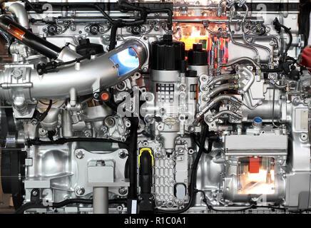 heavy truck diesel engine close up - Stock Photo