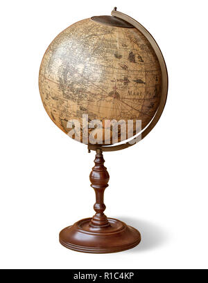 Old Style World Globe - Antique world globe isolated on white background. Studio close up.  with clipping path - Stock Photo