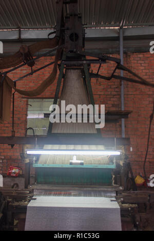 women working silk factory in danang vietnam - Stock Photo