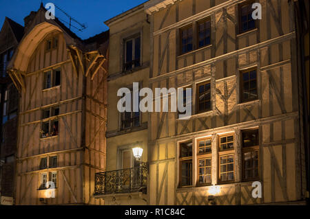 Views of old town at night. Troyes - capital of Aube department in Champagne region. France. Many half-timbered houses (mainly of 16th century) surviv - Stock Photo