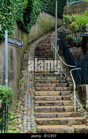 Stairs street in so called Treppenviertel (lit. stairs quarter) in Hamburg Blankenese, Germany - Stock Photo