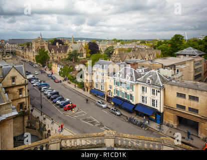 OXFORD, ENGLAND - MAY 15, 2009: The view from the cupola of Sheldonian Theatre to the Broad street. Oxford University. England