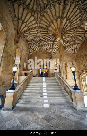 OXFORD, ENGLAND - MAY 15, 2009: The vaulted staircase in Bodley Tower that leads up to the Ante-Hall. Christ Church. Oxford University. England - Stock Photo