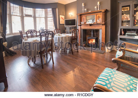 The Dining Room in the All Seasons b&b in Bridlington on the Yorkshire coast - Stock Photo