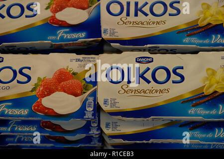 Danone,greek yoghurt,oikos - Stock Photo