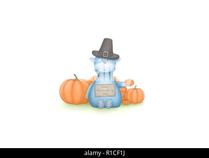 cute hand draw illustration of blue fantasy animal, sitting down with pumpkins and sign with text Happy Thanksgiving Day, isolated on white background - Stock Photo