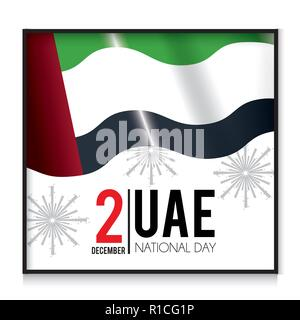 uae flag with firewords to patriotic national day - Stock Photo