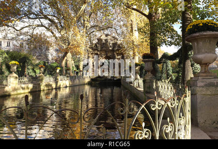 The Medici fountain , Luxembourg garden, Paris, France. - Stock Photo