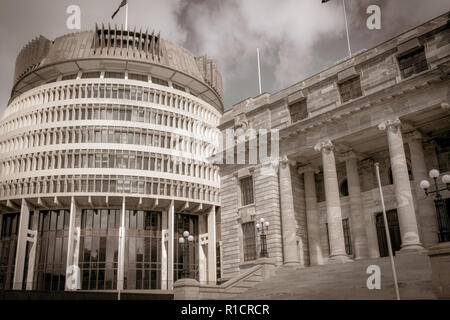 New Zealand Government buildings, House neo classical style House of Parliament with Beehive beside in old-world speia effect - Stock Photo