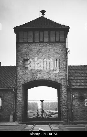 Auschwitz II Birkenau, Nazi concentration and extermination camp. Main entrance to Auschwitz II - Birkenau. Auschwitz, German-occupied, Poland, Europe - Stock Photo