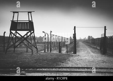 Auschwitz II Birkenau, Nazi concentration and extermination camp. Watchtower and fence. Auschwitz, German-occupied, Poland, Europe - Stock Photo