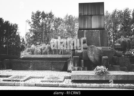 Auschwitz II Birkenau, Nazi concentration and extermination camp. Memorial to 1.5 million murdered by Nazis. Auschwitz, German-occupied, Poland, Europ - Stock Photo
