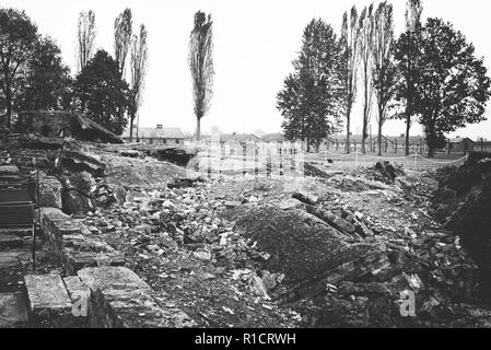 Auschwitz II Birkenau, Nazi concentration and extermination camp. remains of the gas chamber and crematory oven in Auschwitz II Birkenau. Auschwitz, G - Stock Photo