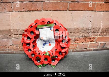 Fabian Peake's rail workers' war memorial at London St Pancras station, UK - Stock Photo