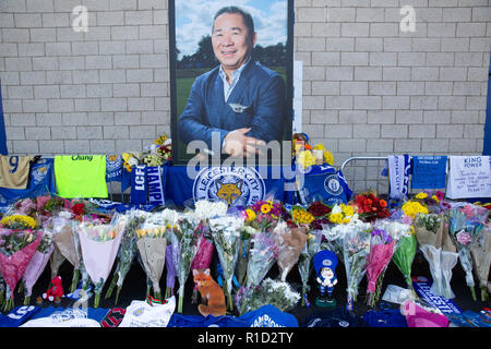 Leicester City Football fans tributes outside the stadium after the death of owner Vichai Srivaddhanaprabha in a helicopter crash. - Stock Photo